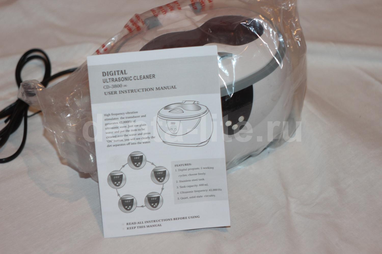 Распакованная ультразвуковая ванна в пакете с руководством Ultrasonic cleaner 3800A
