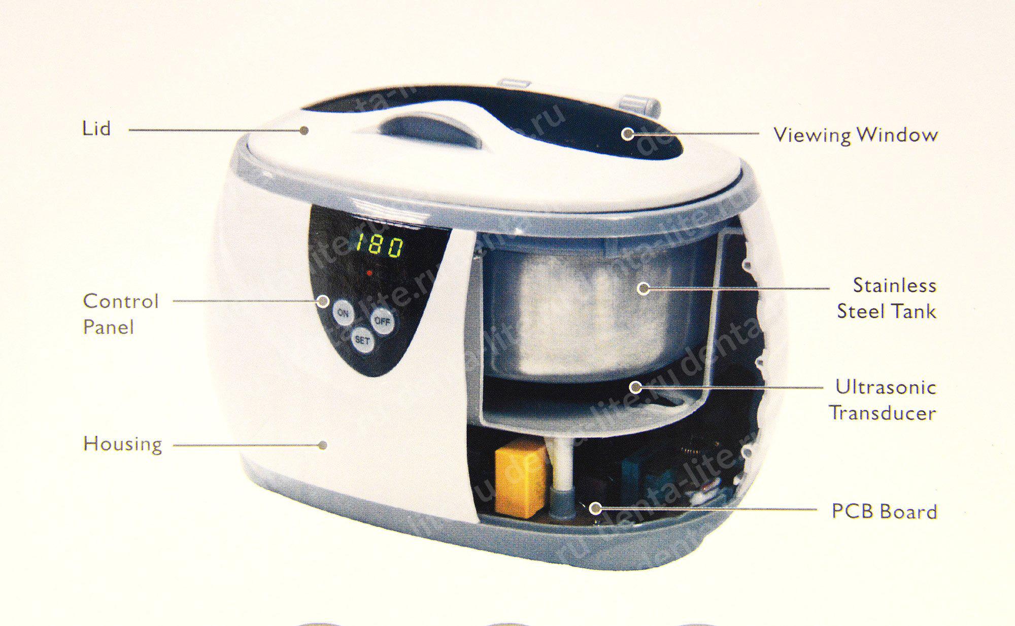 Ultrasonic Cleaner CD-3800A схема, ультразвуковой очиститель в разрезе
